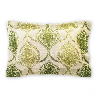 Декоративная подушка «Sinfonia» 50х70, золотистый бежевый с зеленым узором
